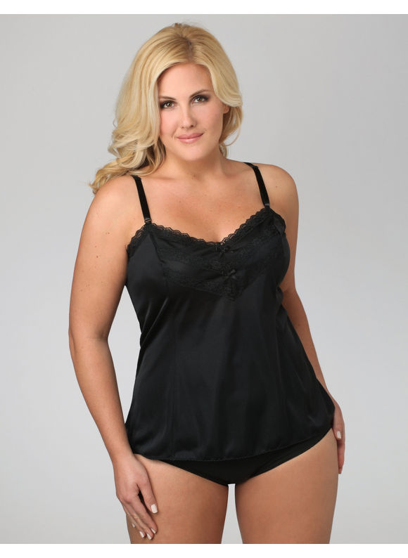 Catherines Plus Size Lace-Trimmed Camisole - Black