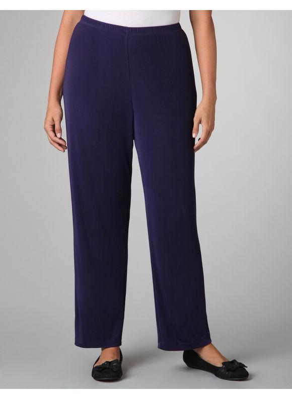 Catherines Women's Plus Size/Dark Purple Jubilee Slinky Knit Pants -
