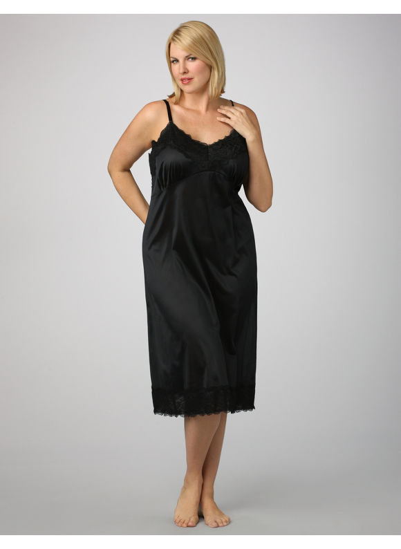 Catherines Womens Plus Size/Black Full Slip - Size 48