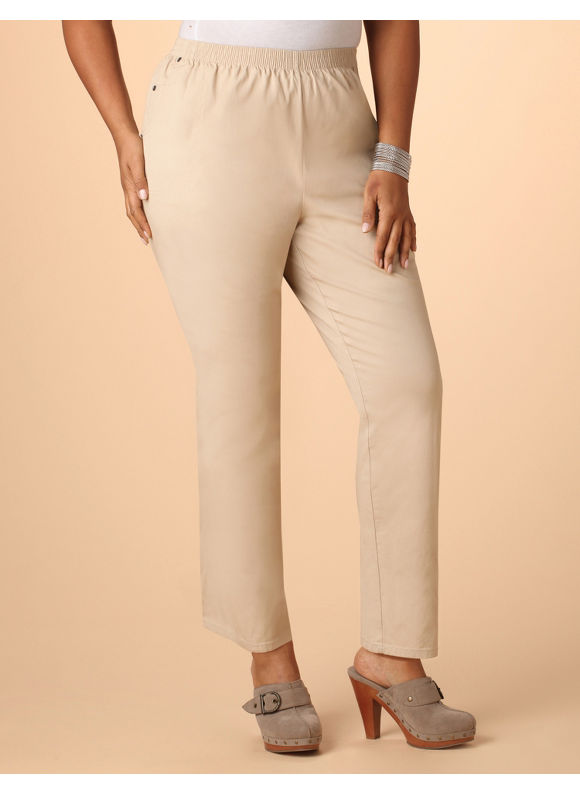 Catherines Women's Plus Size/Khaki,Black Pull-on Twill Pants - Size