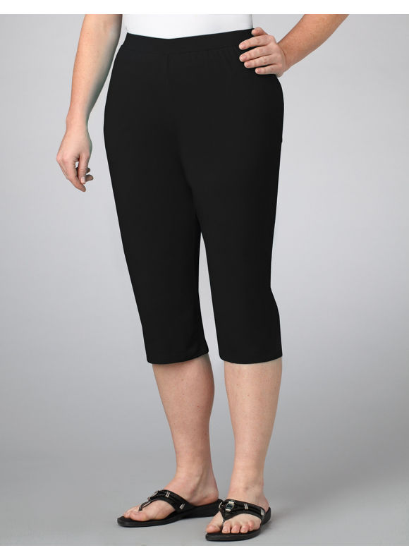 Catherines Women's Plus Size/Black Suprema Knit Capri - Size 0X