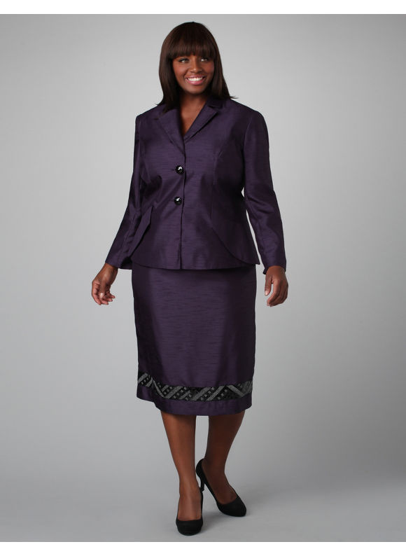 Catherines Women s Plus Size/Plumberry Embellished Shantung Skirt Suit