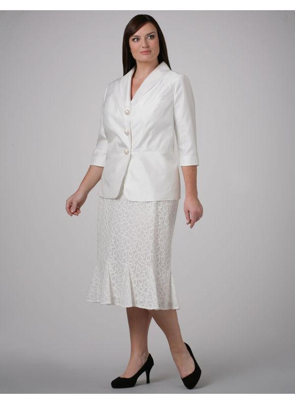 Catherines Women s Plus Size/Ivory Shantung Jacket & Lace Skirt - Size