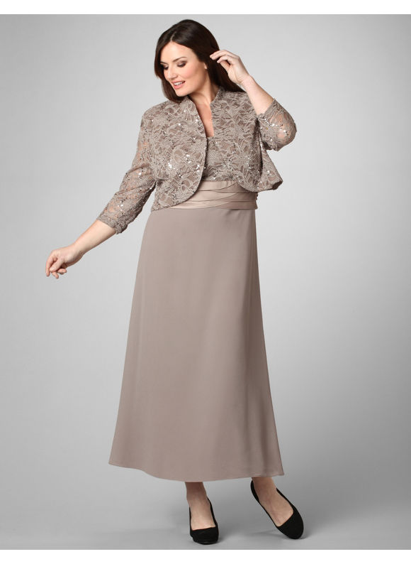 Elegent Plus Size Jacket Dresses - Long Dresses Online