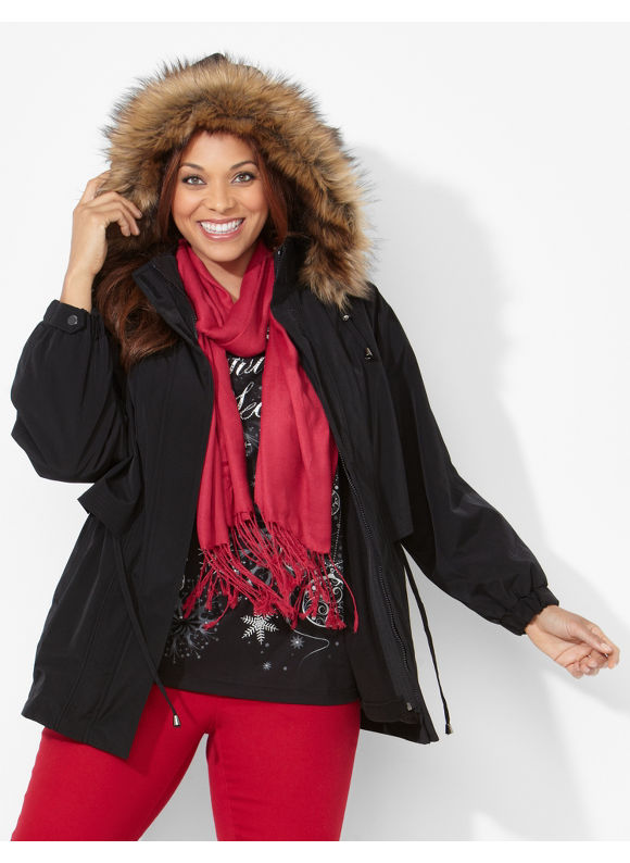 Catherines Plus Size Breckenridge 3-In-1 Coat - Black