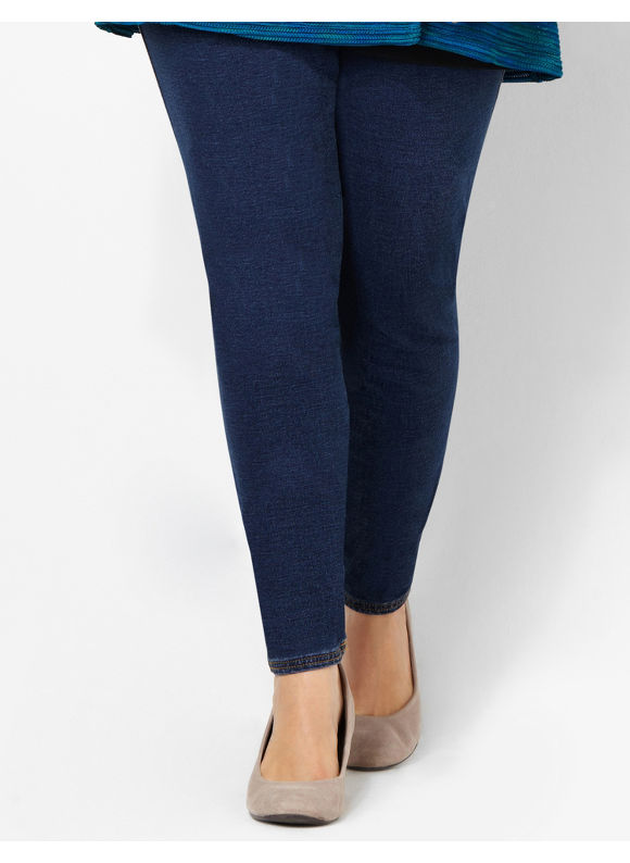 Catherines Plus Size The Knit Jean - Women's Indigo, Medium Stone