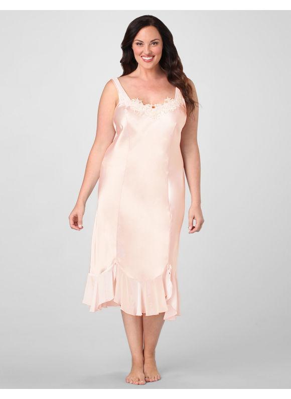 Catherines Women's Plus Size/Blush Pink Moonlit Satin Long Nightgown - $ 58.00
