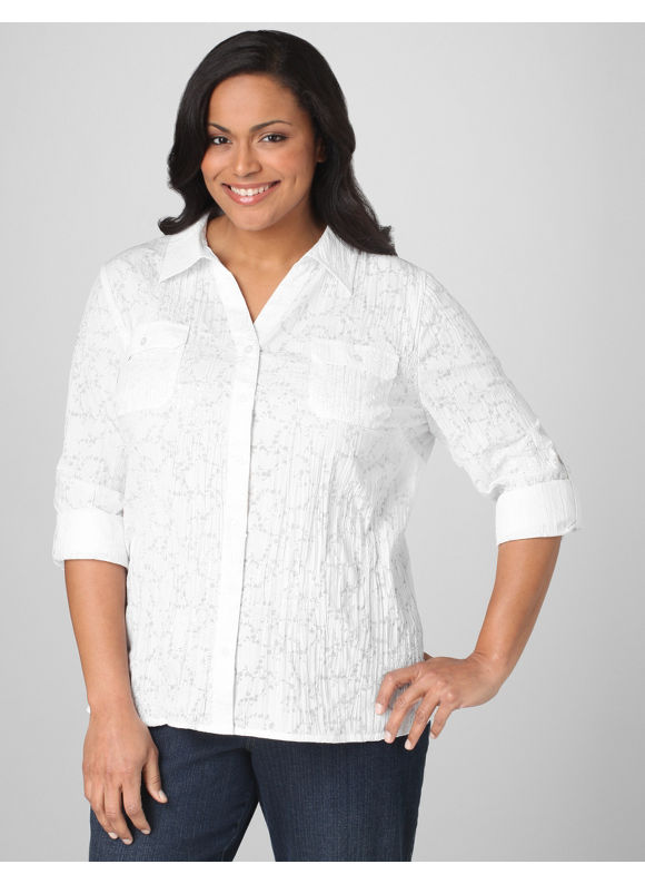 Catherines Women's Plus Size/White Snow Garden Blouse - Size 0X