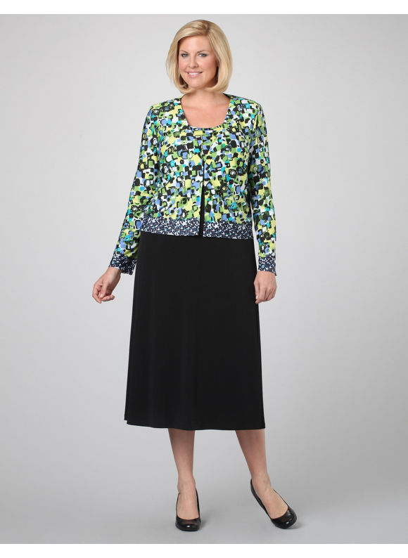 Catherines Women's Plus Size/Multi Black Rhythmic Jacket Dress - Size