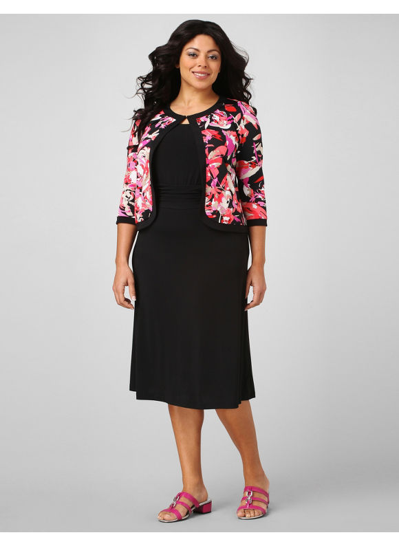 Catherines Women's Plus Size/Coral Floral Splash Jacket Dress - Size