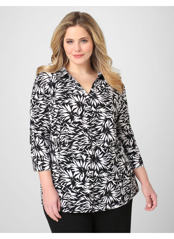 Catherines Women's Plus Size/Black & White Perennial Tropics Blouse -