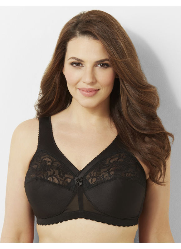 Glamorise Plus Size Glamorise 1000 Magic Lift No-Wire Bra, Women's, Size: 42B,42C,44B,44C,46B,46C,48C,48B,50B,52C,54C,56C,50C, White, Black - Catherines ~ Classic Plus Size Clothes
