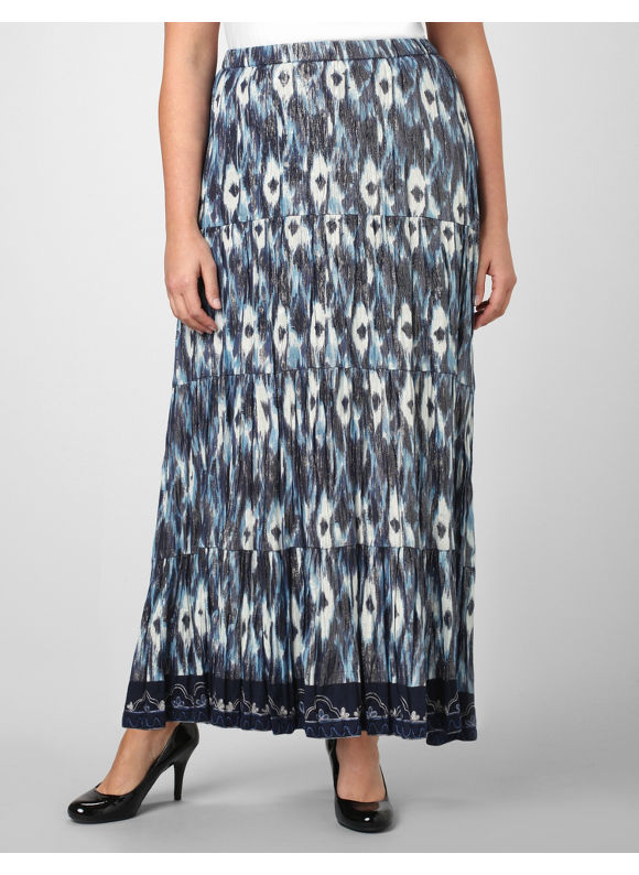 Catherines Women's Plus Size/Blue Ikat Shimmer Skirt - Size 1X,2X,3X,