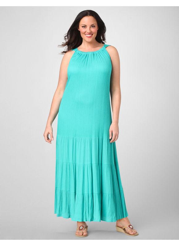 Catherines Women's Plus Size/Turquoise Soft Sleeveless Maxi Dress -
