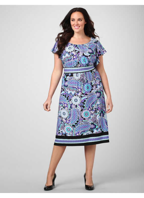 Catherines Women's Plus Size/Purple Paisley Panel Dress - Size 16W,