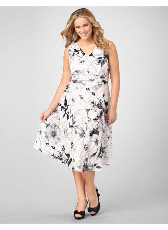 Catherines Women's Plus Size/Black Sketched Florals Dress - Size 18W,