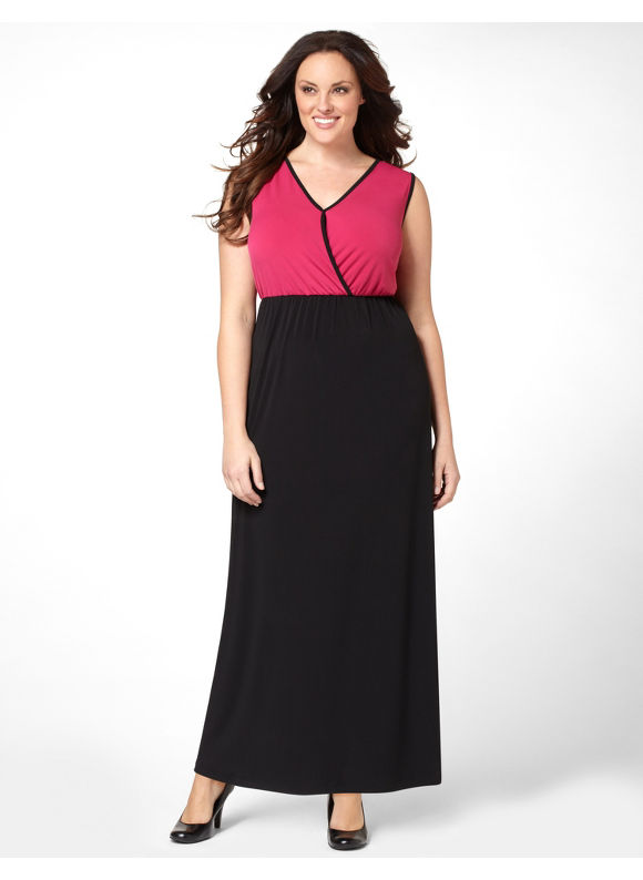 Catherines Women's Plus Size/Petunia Colorblock Maxi Dress