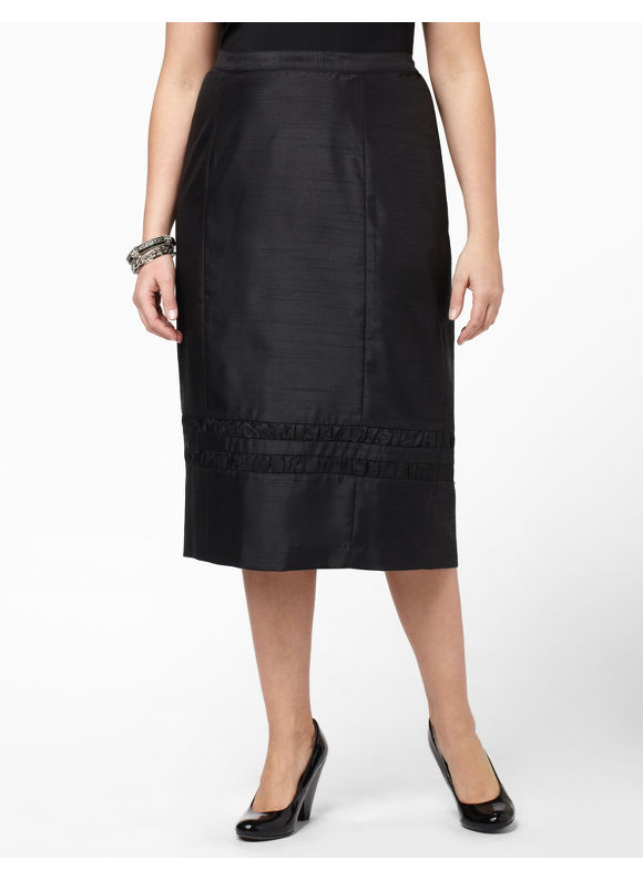 Catherines Womens Plus Size/Black Shantung Ruffle Skirt - Size 16W,