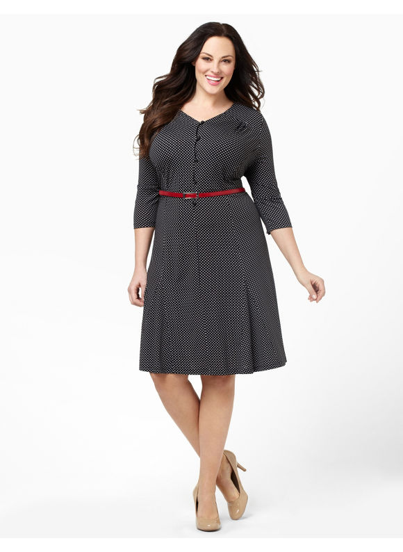 Catherines Women's Plus Size/Black On The Dot Dress