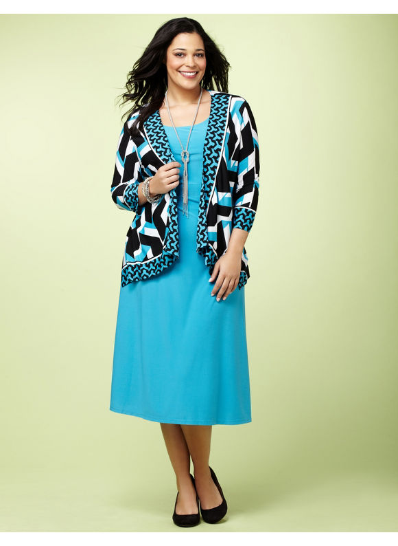 Catherines Women's Plus Size/Vivid Blue Abstract Art Jacket Dress