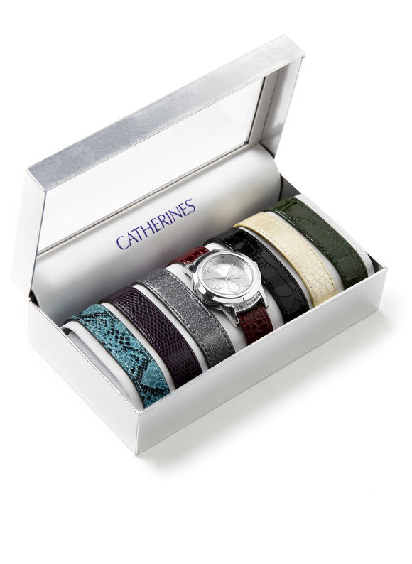 Catherines Plus Size Interchangeable Watch Set - Women's Size One Size, Silver Shimmer