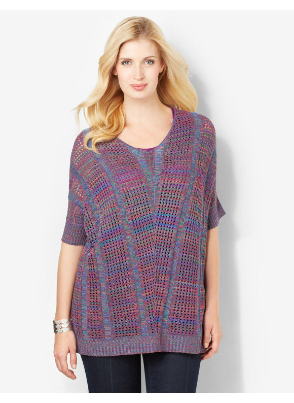 Catherines Plus Size Rich Harmony Sweater - Galaxy Blue, Multi Color