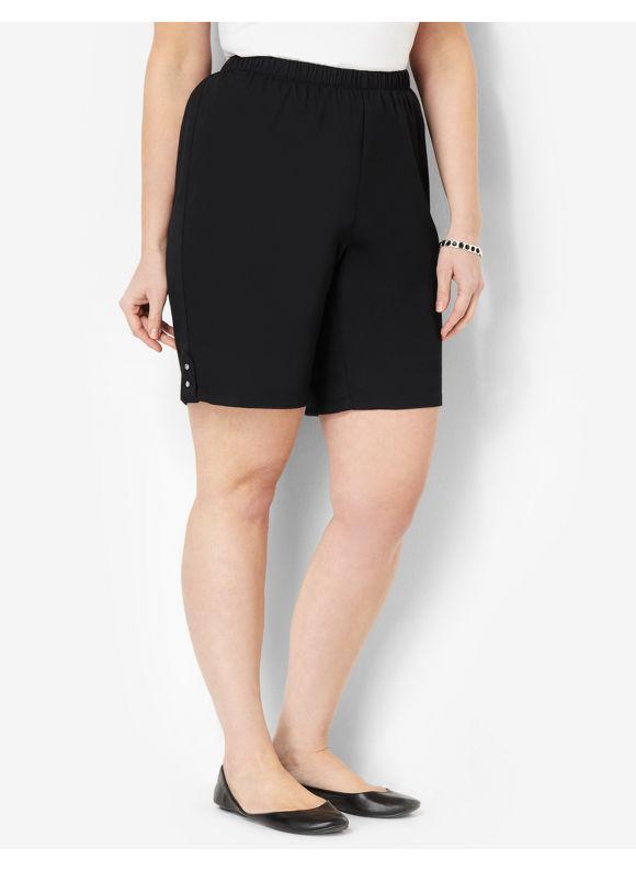 Image of Catherines Plus Size Essential Twill Short  Womens Size 1X2X3X0X BlackKhaki