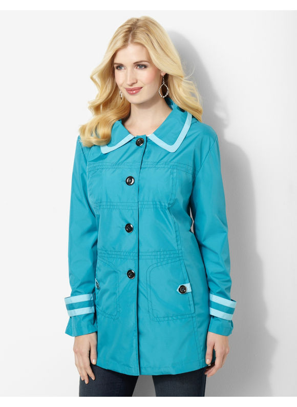 Catherines Plus Size Colorblock Button-Off-Hood Jacket - Turquoise