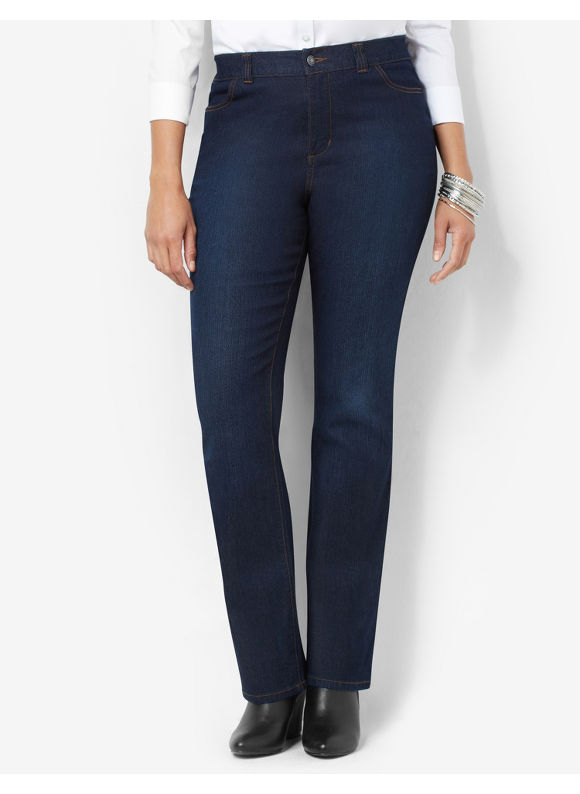 Catherines Plus Size Secret Slimmer Synergy Straight Leg Jean, - Women's Size 16W,18W,20W,22W,24W,26W, Dark Stone