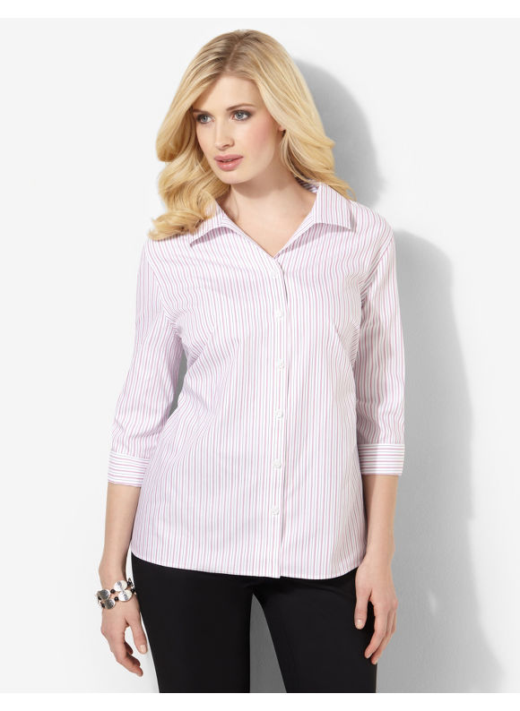 Image of Catherines Plus Size Yarndye NonIron Shirt  Womens Size 1X2X3X0X White
