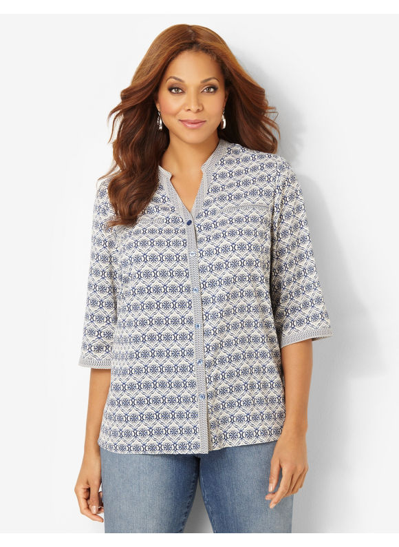 Image of Catherines Plus Size Simply Stated Buttonfront  Womens Size 1X3X Coastal