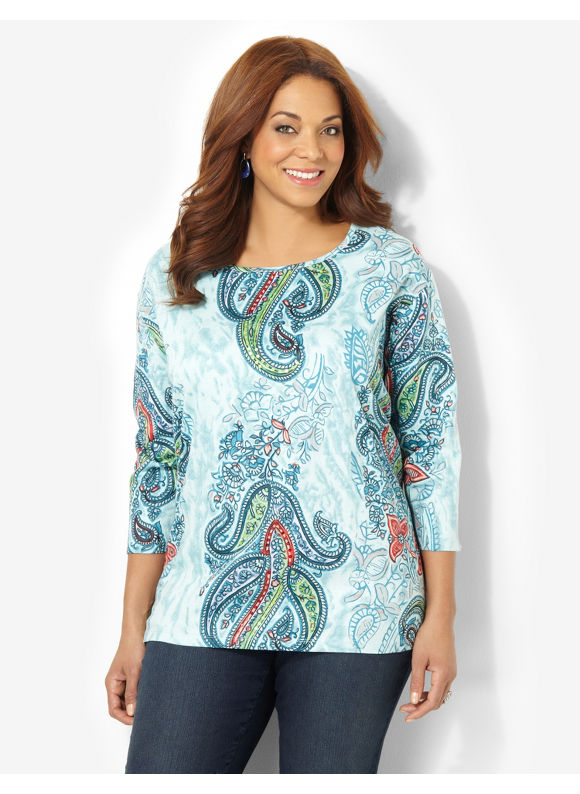 Image of Catherines Plus Size Sequin Paisley Tee  Womens Size 3X Ceramic