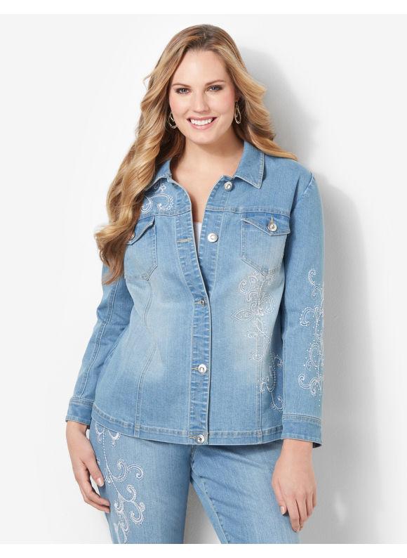 Image of Catherines Plus Size Embroidered Vine Jacket  Womens Size 1X2X3X Indigo