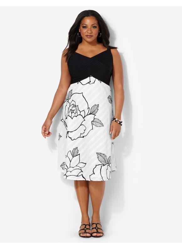 Image of Plus Size Rose Linen Dress Catherines Womens Size 16W20W22W24W White