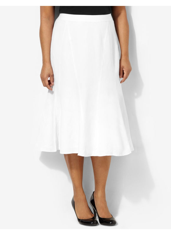 Image of Catherines Plus Size Refresh Linen Skirt  Womens Size 1X2X0X White
