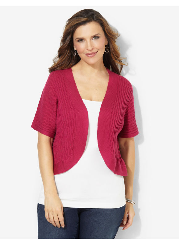 Catherines Plus Size Spring Fresh Shrug - White, Black, Dusty Khaki, Bright Berry