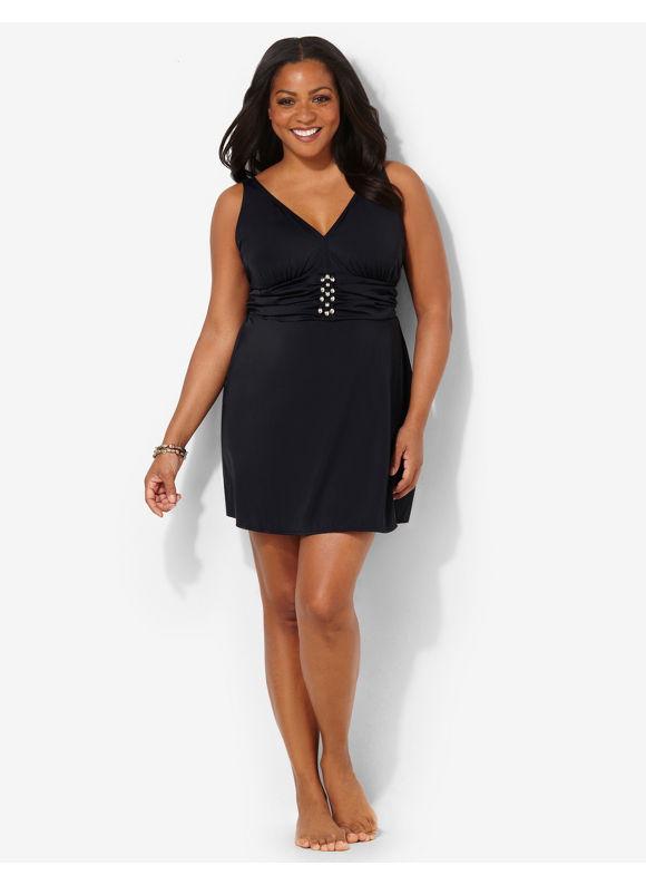 Image of Catherines Plus Size Santa Cruz Swimdress  Womens Size 20W22W Black