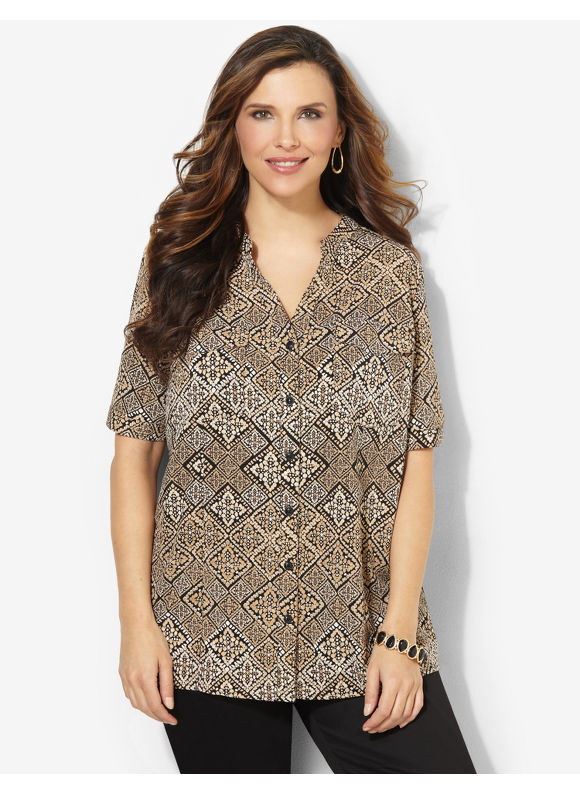 Image of Catherines Plus Size Decorative Diamond Blouse  Womens Size 2X Desert Khaki