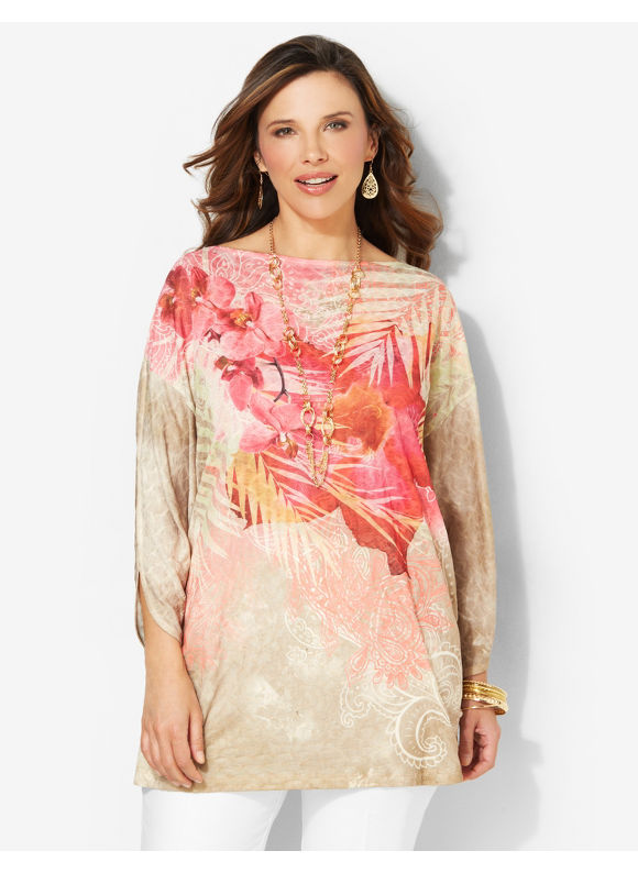 Image of Catherines Plus Size Passion Flower Top  Womens Size 1X0X Desert Khaki