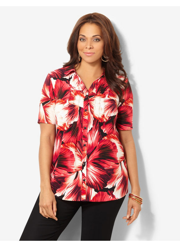 Image of Catherines Plus Size Night Garden Buttonfront  Womens Size 1X2X Dynamo