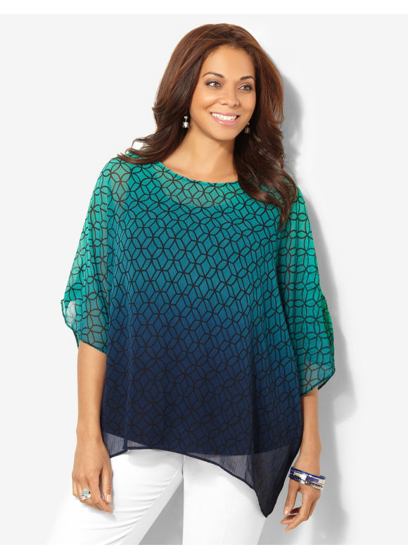 Image of Catherines Plus Size Geo Ombre Blouse  Womens Size 3X Thyme Green