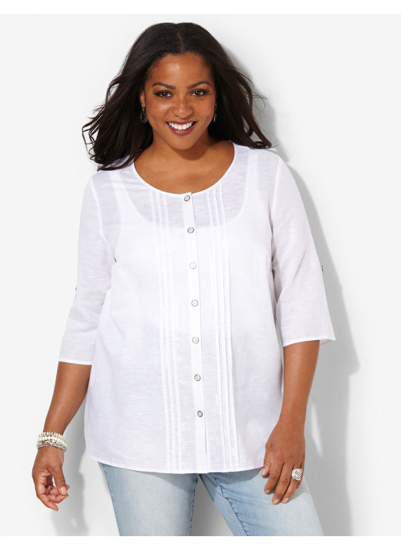 Image of Catherines Plus Size Airy Linen Shirt  Womens Size 1X3X White
