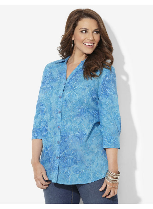 Image of Catherines Plus Size Watercolor Buttonfront  Womens Size 2X3X0X Ceramic
