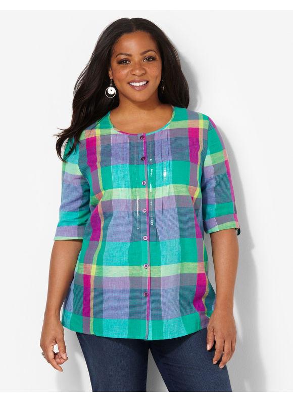 Image of Catherines Plus Size Pastel Plaid Shirt  Womens Size 1X2X Aubergine