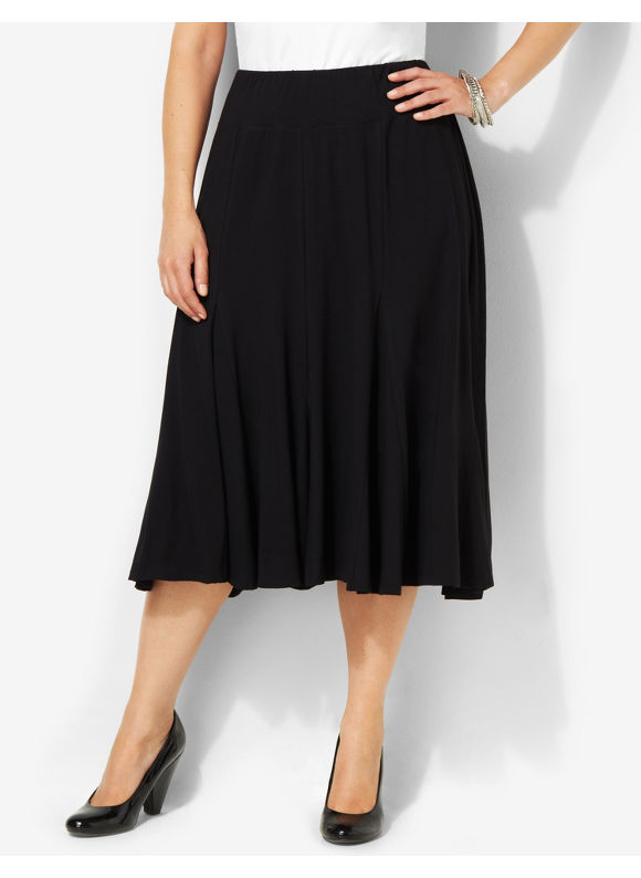 Image of Catherines Plus Size AnyWear Essential Skirt  Womens Size 3X Black