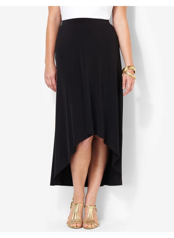 Image of Catherines Plus Size HiLow Skirt  Womens Size 1X2X3X0X Black