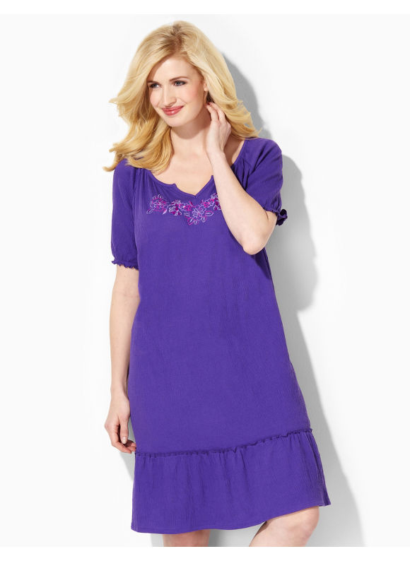 Image of Catherines Plus Size Enchanted Embroidery Sleep Gown  Womens Size 1X2X3X Violet