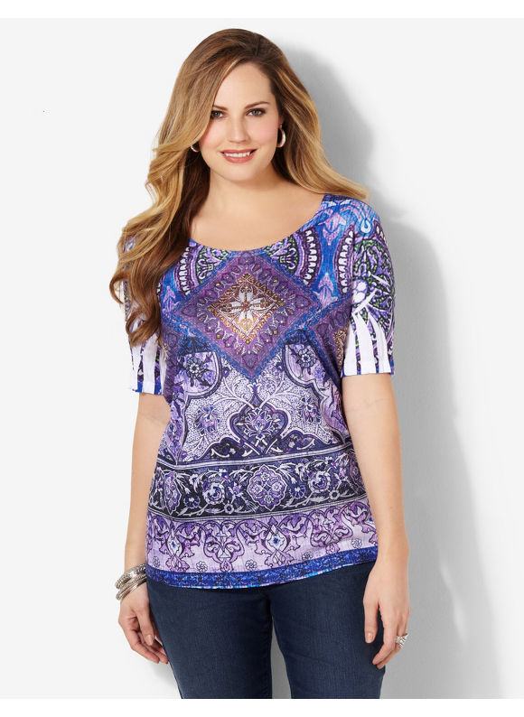 Image of Catherines Plus Size Native Majesty Top  Womens Size 1X Violet