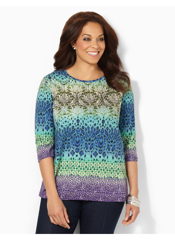 Image of Catherines Plus Size Animal Infusion Top  Womens Size 1X3X0X Multi Color