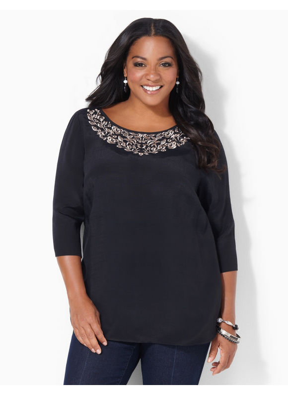 Image of Catherines Plus Size Crest Embroidery Top  Womens Size 1X2X3X0X Black